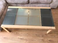 Large Oak, brown leather and glass coffee table - purchased from Leekes