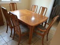 Solid Wood Kitchen Table with 6 Full-Sized Chairs