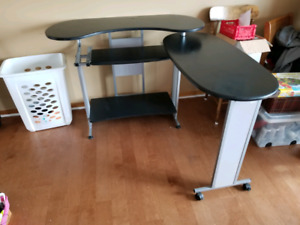Convertible corner desk with executive chair