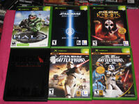 X-Box Games Halo, Star wars KOTOR, Battlefront 1 & 2