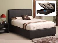 NEW DOUBLE LEATHER STORAGE OTTOMAN GAS LIFT BED FRAME- MATTRESS - SINGLE/KINGSIZE