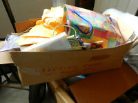 BOX OF WRAPPING PAPER, GIFT BAGS, RIBBON