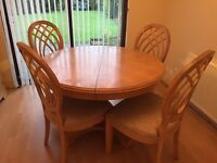 Solid Lime Oak Table and chairs
