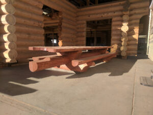 18 Foot Hand crafted log picnic table