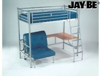 Jay Be High Sleeper Single Bed With Pine Desk And Futon Chair