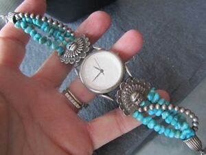 Genuine Turquoise stones and Sterling Silver Watch Peterborough Peterborough Area image 2