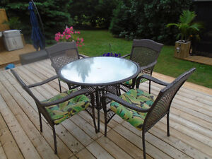 GORGEOUS OUTDOOR ROUND WICKER DINING SET