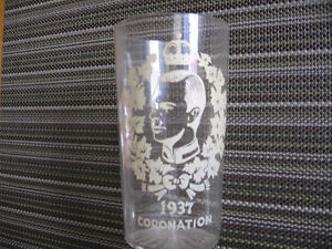 "VINTAGE 1937 CORONATION 5"" GLASS WITH WHITE DETAIL"