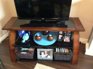 Solid wood and glass 3-shelf TV stand