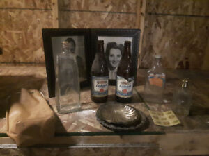 Old bottles and Leather Frame & 2 Plates