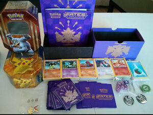 Pokemon lot Over 300 cards, box, sleeves, empty collector tins,
