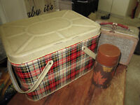 PICNIC BASKET WITH LUNCH BOX AND THERMOS