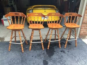 "Four ""4"" Wooden Bar Stools"