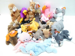 58 VINTAGE RETIRED TY BEANIE BABIES - NEVER USED/MINT COND.