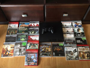 PS3 Slim with 1 Controller and 24 Games
