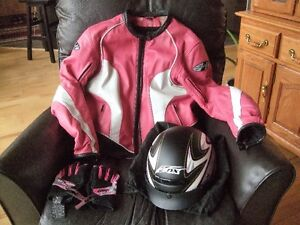 Leather jacket/helmet and gloves
