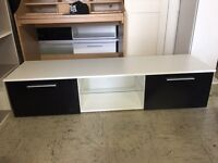 White with 2 Black Gloss Door TV Unit Cabinet With Glass Shelf and LED Light