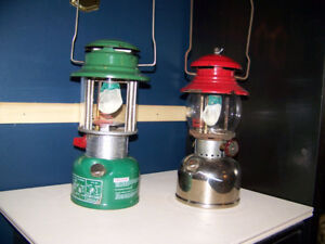 2-Vintage Coleman Lanterns Model 321B Green and Red REDUCED