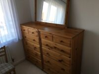 2 pine chest of drawers with mirror