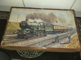 Large train collectors wooden storage box l