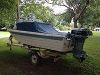 16 ft Fiberglass Boat, 90HP Evinrude outboard, and trailer