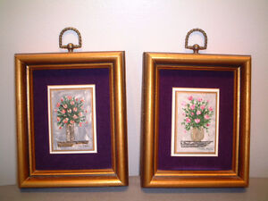 Original Mini Signed Oil Painting In Gold Frame (Set of 2)