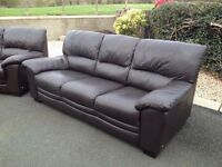 Brown Leather 3 + 2 Sofas