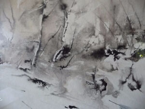 "Winter Abstract W/C by John Bennett RCA, OSA, ""Hint of Spring"" Stratford Kitchener Area image 3"