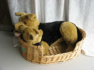 Stuffed Animals, German Shepherd, mother with puppy in a basket