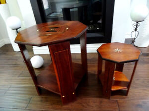 Persian MOROCCAN inlaid tables BONE MAHOGANY rosewood OCTAGON