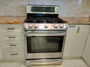 2015 stainless steel lg top gas bottom stove electric oven range