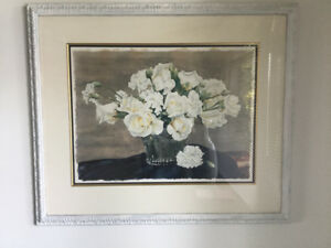 large beautiful White Floral Watercolour Framed Painting