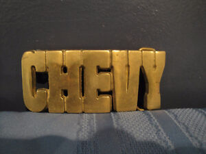 Vintage Chevy Solid Brass Belt Buckle & Leather Belt - $18.00