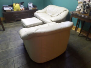 All leather love seat & chair, no footstool - beige