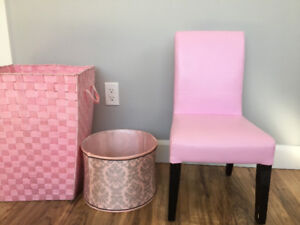 Pink child's pleather parsons chair $25