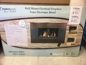 Mahogany Electric Fireplace Wallmount SAVE $100