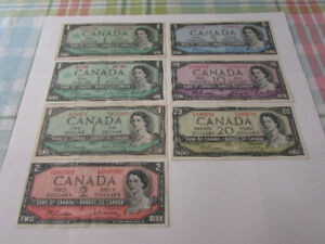Set of  1954 Bank of Canada Note