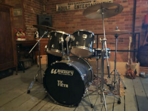 WESTBURY 5-PC DRUM SET + CYMBALS, STANDS, THRONES, STICKS, ETC