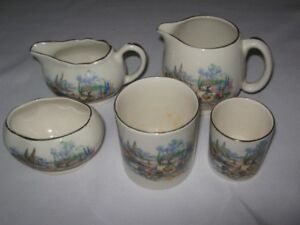 Englishware-In An Old World Garden.Lot of 5 Pieces.