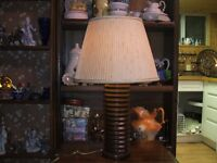 Wood table lamp with shade