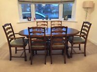 Extendable Solid Wood Dining Table & 6 Chairs