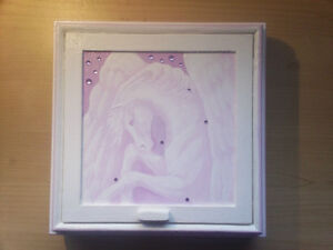 Hand painted local wood trinket mirror box pegasus pink lavender