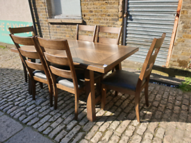 Bayside Furnishing Extandable Dining table + 6 ladder back Chairs
