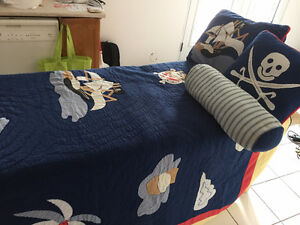 Boys Quilted Pirate Bedding Set - Twin Size
