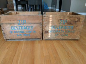 FS Pair of Zip Beverages of Canada Limited Soda Bottle Crates
