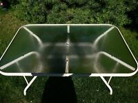"Glass Top Table, Seats 6 - 8 people.  36"" Wide x 66"" Long"