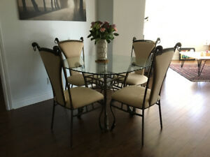 Wrought Iron Glass Top Dining Table and 4 Chairs Set