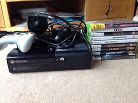 xbox 360 500gb with 9 games and 2 controllers