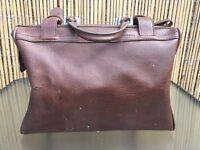 Vintage Brown Tan Leather Doctors Bag Case Brief Medical