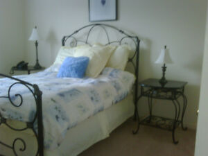 Wrought-iron Bed-frame and marble-top Bedside table - Bombay Co